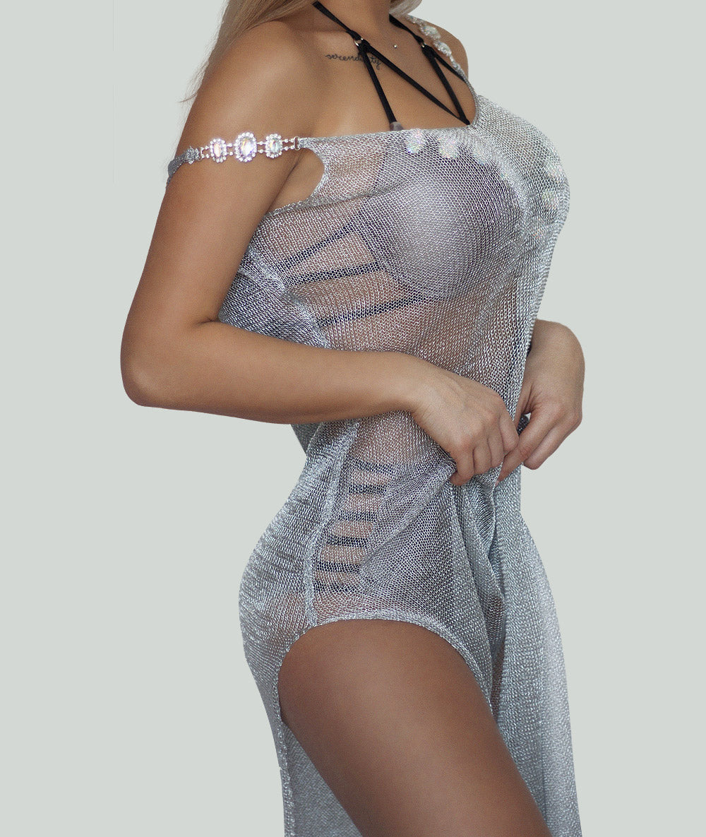 Silver Metallic Beach Cover Up - Charm Bikini | Luxury Designer Swimwear & Beachwear Brand