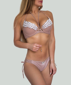 Beige Push Up Halter Bikini - Charm Bikini | Luxury Designer Swimwear & Beachwear Brand