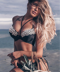 Black Push Up Halter Bikini Top