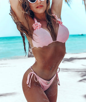 Premium Baby Pink 3D Flower Triangle Bikini Top