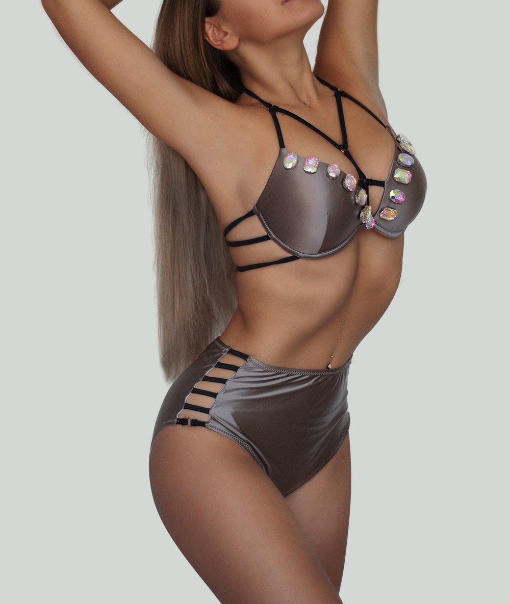 Coffee Beige Satin Push Up Bikini Set - Charm Bikini | Luxury Designer Swimwear & Beachwear Brand