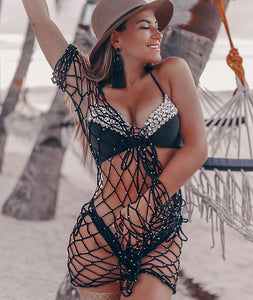 Black Crochet Beach Cover Up Dress