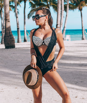 Black Rhinestone Chiffon Two Piece Bikini Top