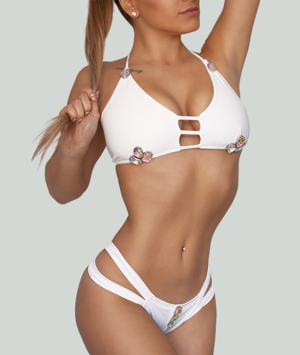 White Unicorn Crystal Push Up Bikini Set - Charm Bikini | Luxury Designer Swimwear & Beachwear Brand