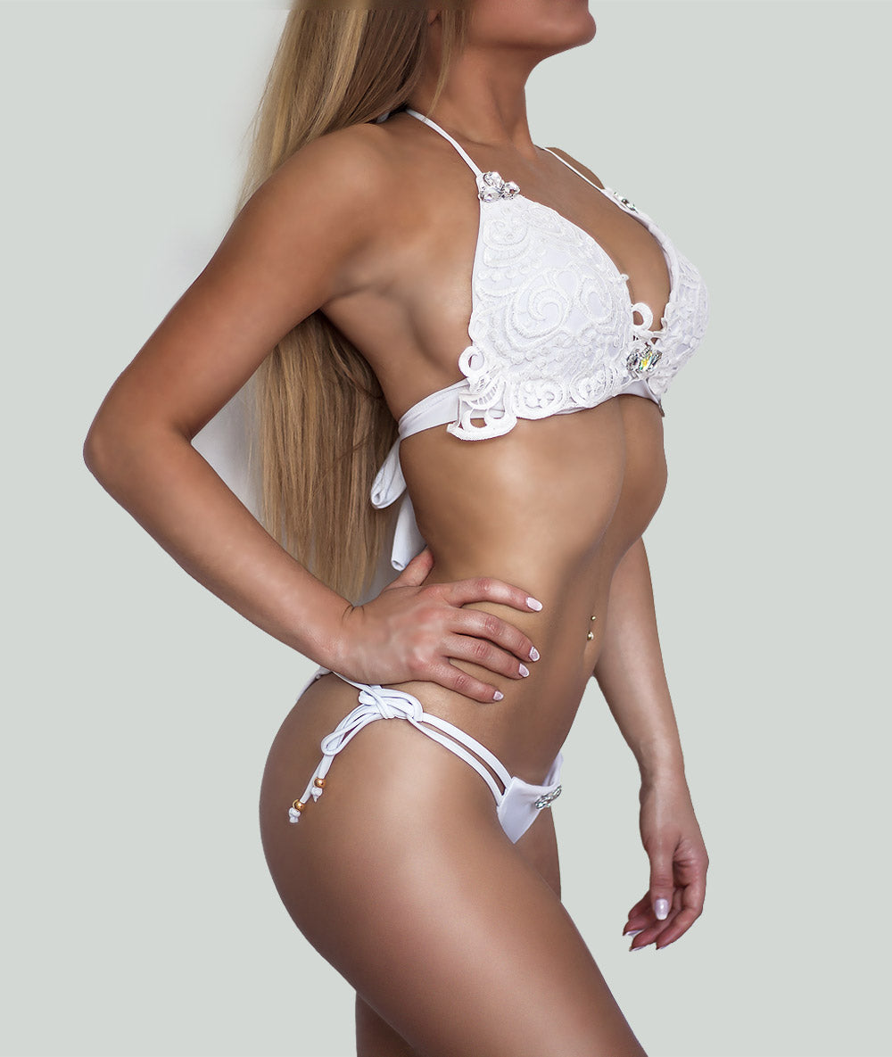 White Lace Triangle Bikini - Charm Bikini | Luxury Designer Swimwear & Beachwear Brand