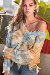 FINAL SALE Celia Sweater- Blue Tie Dye