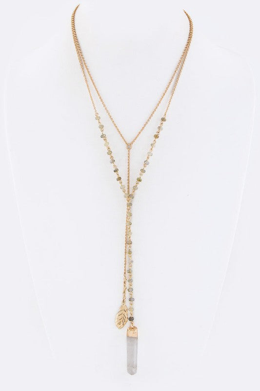 Carrie Crystal Necklace- Natural