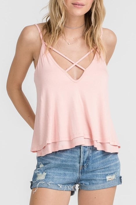 FINAL SALE Cici Cross Front Top- Blossom