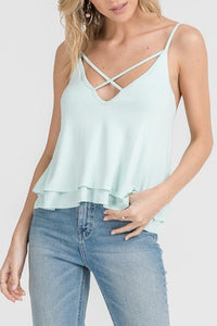 Cici Cross Front Tank-Icy Mint