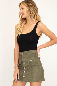 FINAL SALE Fiona Faux Suede Skirt- Olive