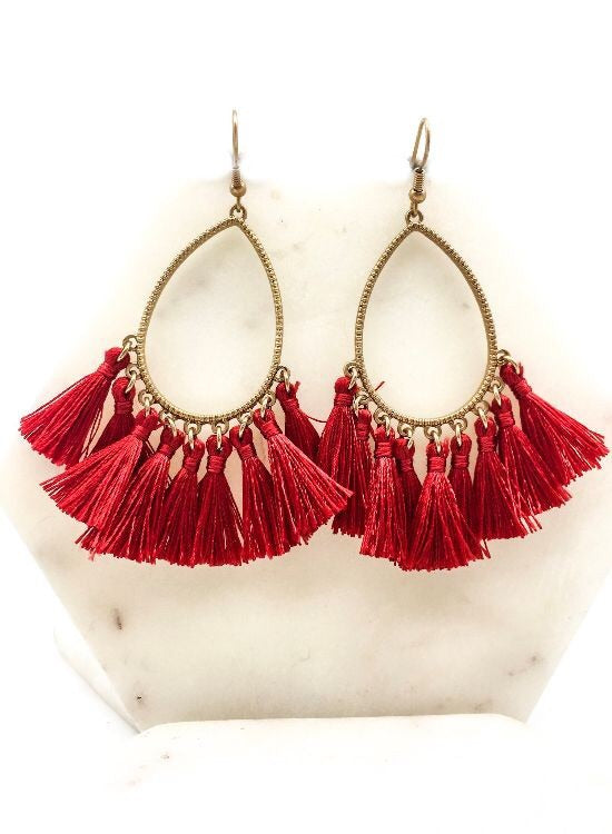 Trina Tassel Earrings- Red