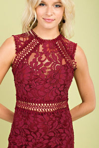 FINAL SALE Bianca Lace Dress- Burgundy