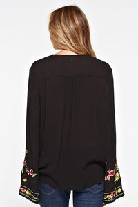 RESTOCK Ella Embroidered Top- Black