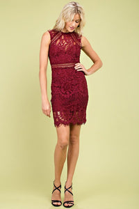 Bianca Lace Dress- Burgundy