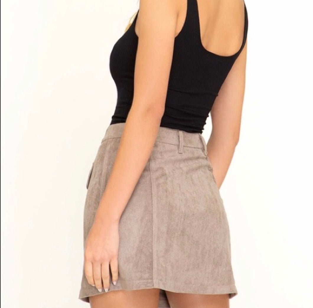 Fiona Faux Suede Skirt- Mocha