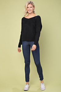 FINAL SALE Penny Pearl Sweater- Black