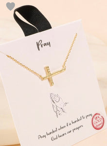 Sideways Cross Necklace- Gold