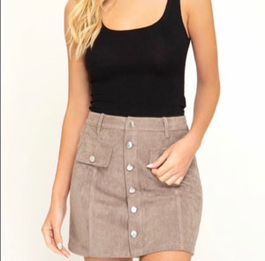 FINAL SALE Fiona Faux Suede Skirt- Mocha