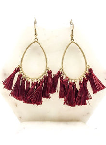 Trina Tassel Earrings- Burgundy
