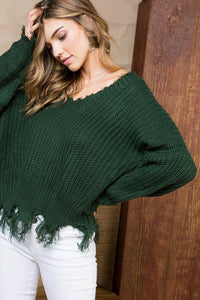 FINAL SALE Fiona Frayed Sweater- Hunter Green