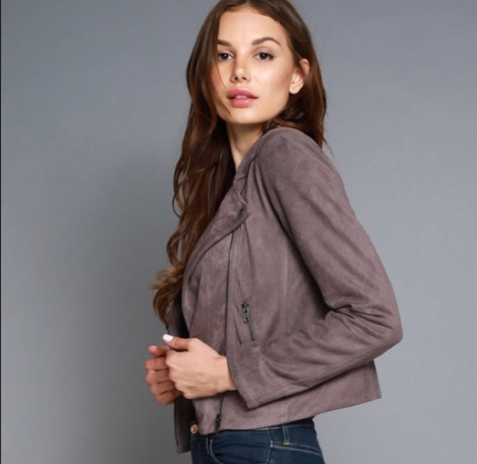 Angela Faux Suede Jacket- Concrete