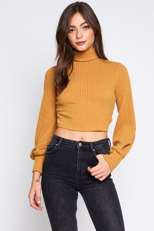 FINAL SALE Jill Cropped Top- Mustard