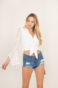 Melody Lace Top- White