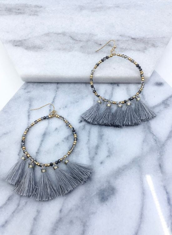 FINAL SALE Jenny Beaded Earrings- Gray