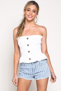 FINAL SALE Amberly Tube Top- White
