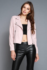 Angela Faux Suede Jacket- Blush
