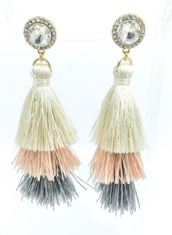 Tia Tiered Tassel Earrings-Ivory