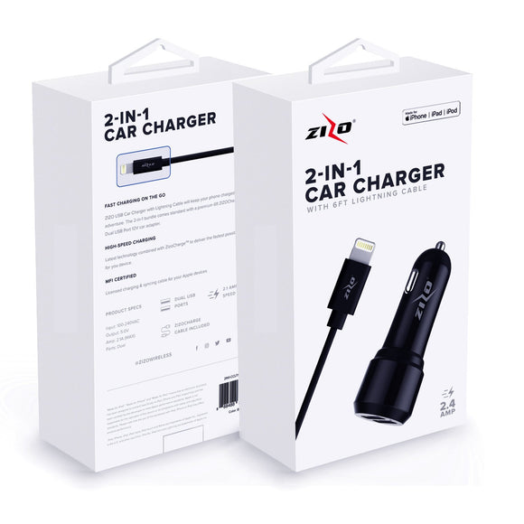 ZizoCharge 2in1 F11 Car Adapter and 6ft MFi Certified Cable for iPhone / iPad / iPod (Black)