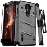 For Nokia 3.1 C - BOLT Case with Built In Kickstand Holster and Full Glass Screen Protector Metal Gray Black