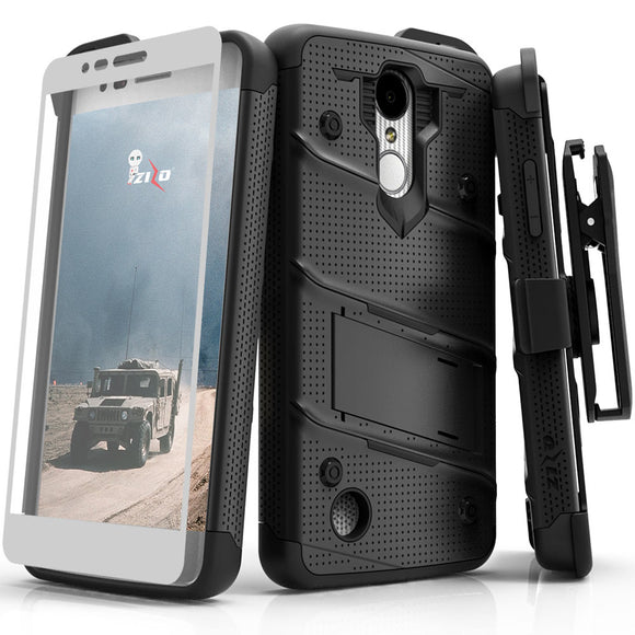 For LG Aristo 2 / Tribute Dynasty / Fortune 2 - BOLT Cover w/ Kickstand  Holster, Tempered Glass Screen Protector, Lanyard - Black/Black BOLT