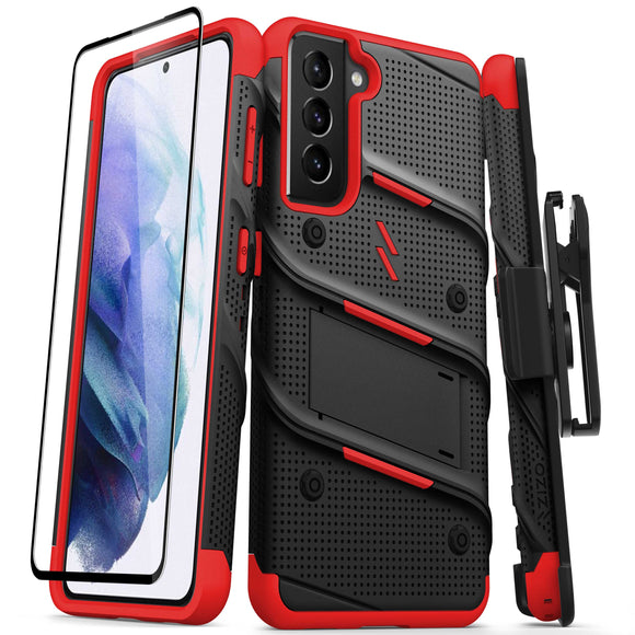 ZIZO BOLT Series Galaxy S21 5G Case with Tempered Glass (No Fingerprint Sensor) - Black & Red