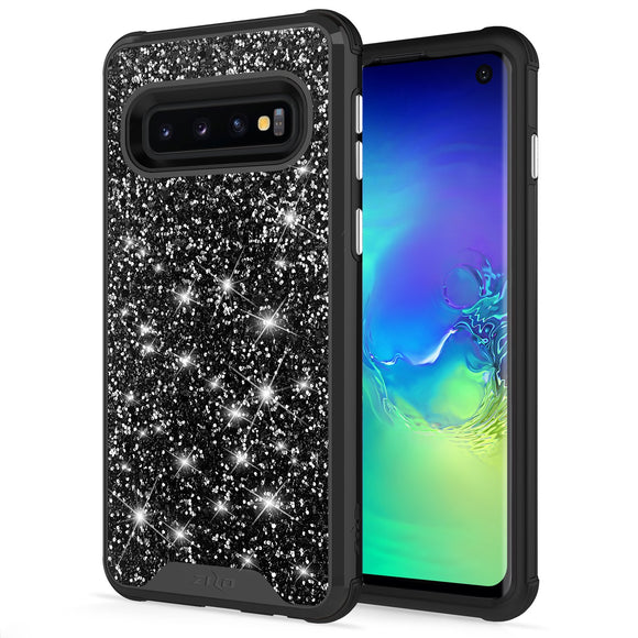 For Samsung Galaxy S10 Case - Zizo Stellar Series Dual Layered with Glitter Design Black