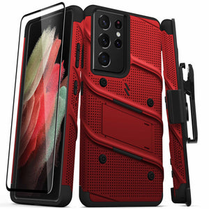 ZIZO BOLT Series Galaxy S21 Ultra 5G Case with Tempered Glass (No Fingerprint Sensor) - Red & Black