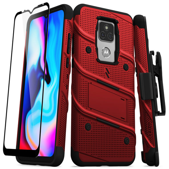 ZIZO BOLT Series Moto G Play (2021) Case with Tempered Glass - Red & Black