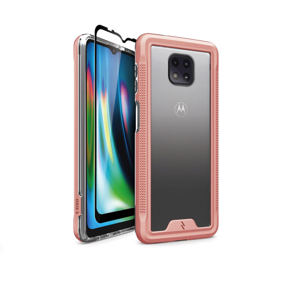 ZIZO ION Series Moto G Power (2021) Case with Tempered Glass - Rose Gold & Clear