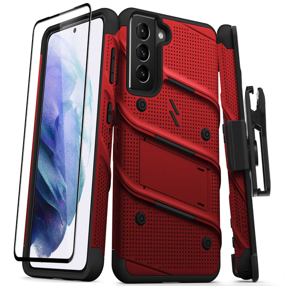 ZIZO BOLT Series Galaxy S21 5G Case with Tempered Glass (No Fingerprint Sensor) - Red & Black