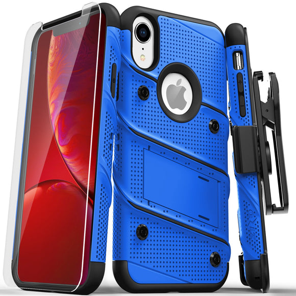 For iPhone XR - BOLT Case with Built In Kickstand Holster and Tempered Glass Screen Protector (Blue/Black)