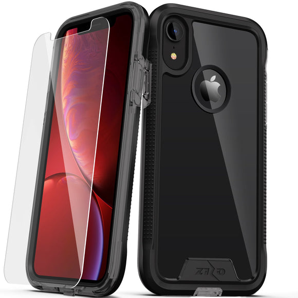 For iPhone XR- Zizo ION Triple Layered Hybrid Case with Tempered Glass Screen Protector (Black/Smoke)