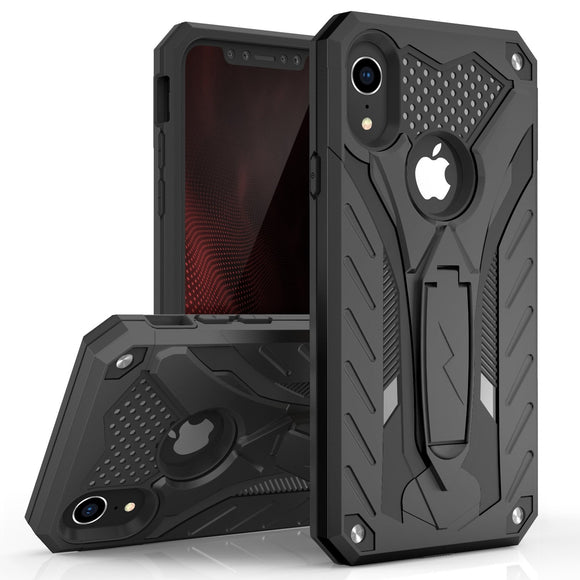 For iPhone XR - Zizo Static Series Dual Layered Hybrid Case with Kickstand (Black/Black)