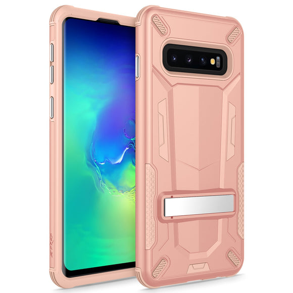 For Samsung Galaxy S10 Case - Transform Series by Zizo with Kickstand and UV Coated PC/TPU Layers Rose Gold Peach