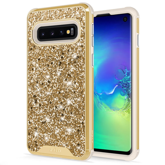 For Samsung Galaxy S10 Case - Zizo Stellar Series Dual Layered with Glitter Design Gold