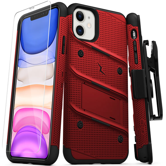 ZIZO BOLT Series iPhone 11 (2019) Case - Built-In Kickstand Belt Holster Tempered Glass Screen Protector (Red/Black)