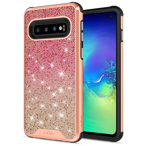 For Samsung Galaxy S10 Case - Zizo Wanderlust Series Dual Layered with Glitter Design Rose Mist