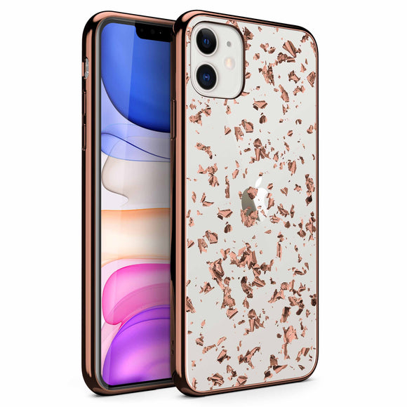 ZIZO REFINE Series iPhone 11 (2019) Case - Ultra Slim Thin Case Clear Transparent Back w/ Rose Gold Foil Flakes (Rose Gold Exposure)