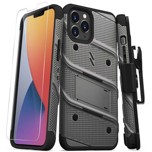 ZIZO BOLT Series iPhone 12 Pro Max Case with Tempered Glass - Gun Metal Gray
