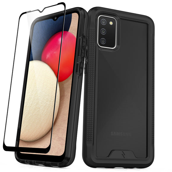 ZIZO ION Series Galaxy A02s Case with Tempered Glass - Black & Smoke